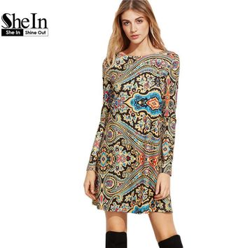 SheIn Womens Clothing Vintage Autumn Dresses for Women Multicolor Paisley Print Boat Neck Long Sleeve Tunic Dress