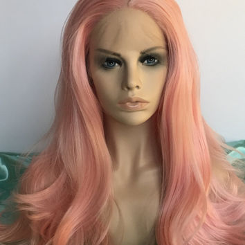 Bubble gum pink lace front synthetic wig
