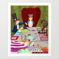 Alice in Wonderland- Tea Party Art Print by Rachel Cecelski