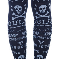 Too Fast Ouija Garter Socks Black