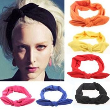 1Pcs Fashion Bowknot Hair Bands Headbands Elastic Stretch Rabbit Twisted Knotted Turban Hairdressing Accessories Styling Tools