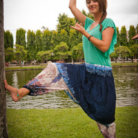 Navy Harem Pants w/ White and Blue Paisley and Elephant print(S-M-L-XL) one size fits all