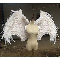 Luxury White ANGEL Feather Wings Models Stage Wedding Cosplay