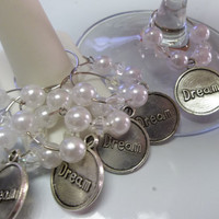 Inspiring Wine Glass Charm Hoops With Pearls and Dream Charms