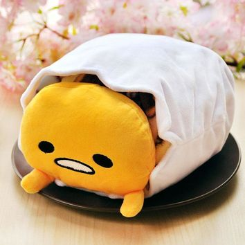 super cute plush toy gudetama lazy Egg yolk eggshell storage pocket folded blanket nap pillow creative birthday gift 1pc