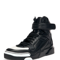 Contrast-Toe High-Top Sneaker, Black/White - Givenchy
