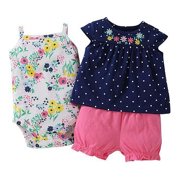 Set+ 1 Romperkids Dresses For Girlspattern Clothing Set Baby Romperscotton Baby Girl Clothes Polka Dot Girls Summer Sets 3