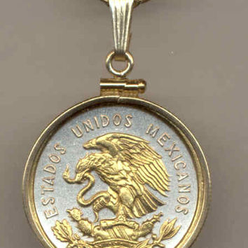Gorgeous 2-Toned Gold on Silver Mexican Eagle,  Coin Necklaces