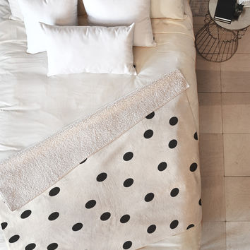 Garima Dhawan Vintage Dots Black Fleece Throw Blanket