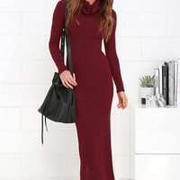 Burgundy Turtle Neck Long Sleeve Maxi Dress
