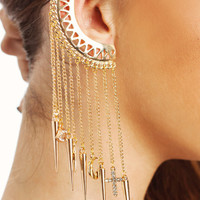 cut-out-spike-charm-ear-cuff GOLD - GoJane.com
