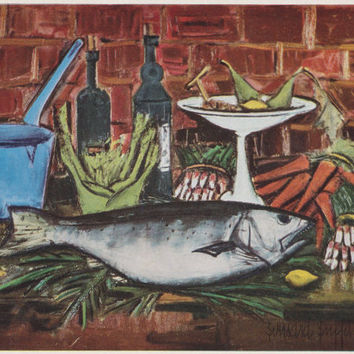 "Vintage German Postcard -- Bernard Buffet ""The carp"" -- 1960s"