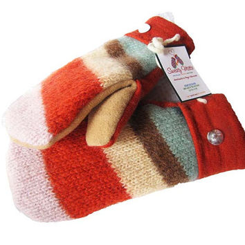 SWEATY MITTS - Upcycled Wool Sweater Mittens Women's Recycled Handmade in Wisconsin - Stripes Orange Yellow Tan Brown Pink Green warm