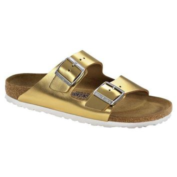 Birkenstock Classic, Arizona, Smooth Leather, Regular Fit, Soft Footbed, Metallic Gold