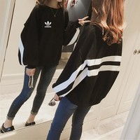 """Adidas"" Women Loose Casual Multicolor Stripe Long Sleeve Pullover Sweater Tops"