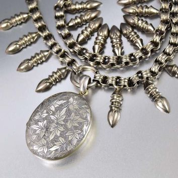 Antique Silver Victorian Ivy Engraved Oval Pendant Collar Necklace