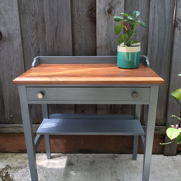 SOLD -- Gray and Wood Desk with Drawer