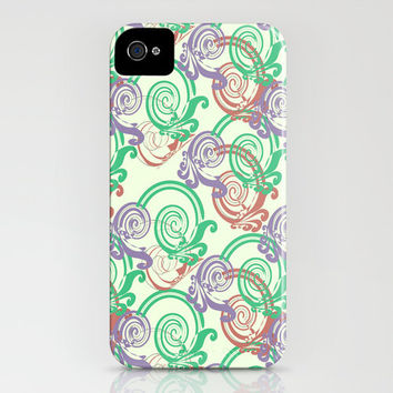 Swirls iPhone Case - print pattern purple green red blue abstract hipster bright white background eye catching pretty cool indie design swag