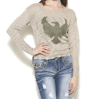 Eagle Intarsia Pullover Sweater - WetSeal