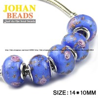 JHNBY European Beads Fashion Blue 5mm Big Hole Glass Bead 10pcs Round Loose beads fit Braclets Jewelry accessories making DIY