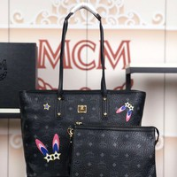 Kuyou Gb79810 Mcm Neo Milla Black Book Tote Bag And Purse In Visetos Grained Leather With Hare Print 35x28x15cm