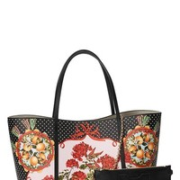 Women's Dolce&Gabbana 'Miss Escape' Floral Print Leather Tote - Red