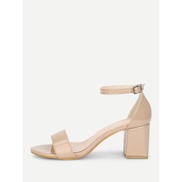 Two Part Ankle Strap Heeled Sandals