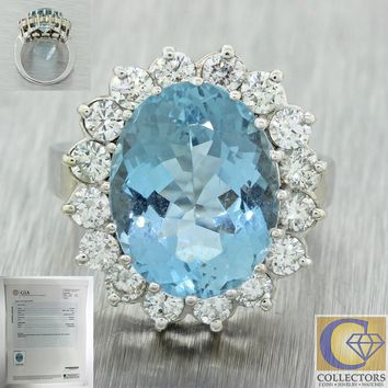 1960s Estate 14k White Gold 8.97ctw Aquamarine Diamond Halo Cocktail Ring GIA
