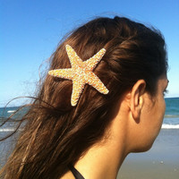 Medium-Large Natural Sugar Star Fish Hair Clip by IndianSummerGirls