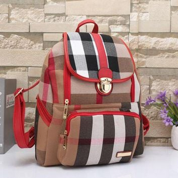 DCCKH3L Burberry' Women Casual Multicolor Stripe Zip Backpack Double Shoulder Bag