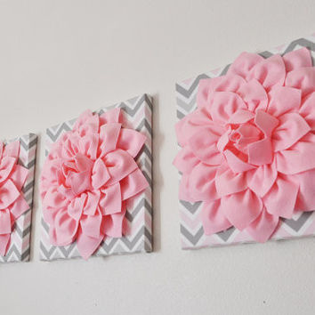 Three Light Pink Dahlia on Pink and Gray Chevron Canvases