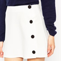 ASOS A Line Skirt With Black Covered Buttons at asos.com