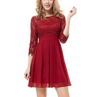 Cute High-Waist Zipper Short Red Pleated Dress