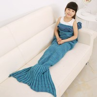Mermaid Tail Blanket, Warm Soft Knitted Blankiet Novelty Luxury, All Seasons Cozy Sleeping Bags Air Conditioning Bed/Sofa, Special Gift for Kids,Light Purple(53.1525.59inch) (Blue)