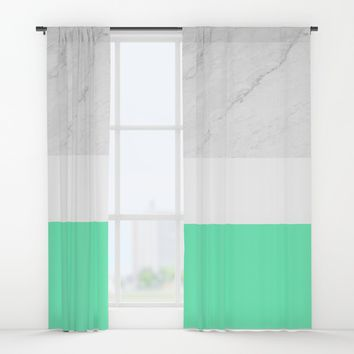 Marble White Mint Window Curtains by ARTbyJWP