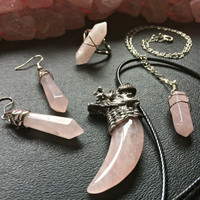 Rose Quartz Crystal Necklace Steampunk Raw Quartz Bohemian Jewelry Gypsy Healing Crystal Necklace Hippie Love Stone jewelry
