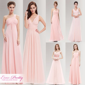 Peachy Pink Long Bridesmaid Dresses A Line One Shoulder Under $50 Ever Pretty EP09816PK Wedding Guest Dress for Bridemaid Part
