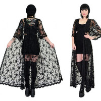 vintage 90s sheer lace kimono scalloped ultra draped gothic dress jacket bell sleeve floral gothic robe romantic witchy avant garde