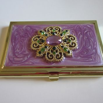 Jeweled Empire Business Card Holder Genuine Crystals In A Box