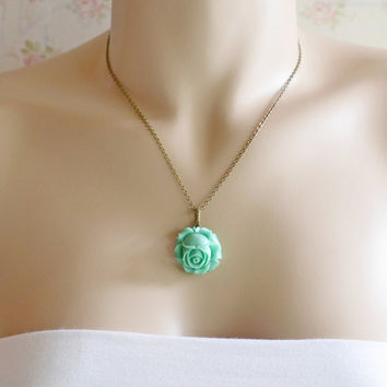 Mint Green Flower Cameo Necklace,Rose Flower Jewelry Necklace,Flower Cabochon Jewelry, Simple,Rose Jewelry,French Inspired Gift