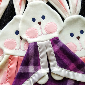 Replica Fisher Price Bunny Puppet Lovey in Purple Plaid