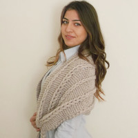 Braided Milky brown Shawl-Ready for Shipping-Christmas gift