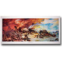 """Assault on Seawall of Betio at Tarawa"" Waterhouse Print"