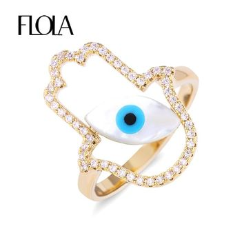 FLOLA Vintage Fatima Hamsa Hand Cute Blue Eye Ring Micro Pave Turkish Gold Zircon Stone Infinity Midi Rings For Women rige75
