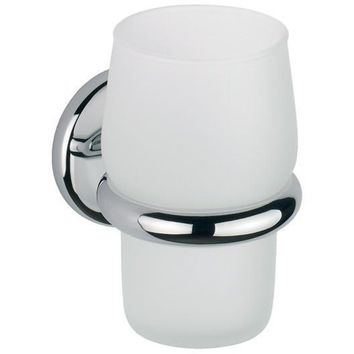 BA Hotel Wall Frosted Glass Toothbrush Toothpaste Holder Bathroom Tumbler, Brass