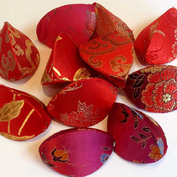 Fortune Cookie 12 Wedding Favor Boxes, Gift Pouches, Place Card Holders, Silk Brocade Red Scarlet Crimson