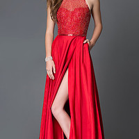 Sherri Hill Floor Length Multi-Strap Back Prom Dress with Pockets