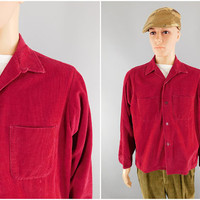1960s Vintage / Red Corduroy Shirt / Sears Roebuck & Co / Size XL / 60s Fashion / Preppy Style / Button Up Shirt / Long Sleeve / Size XL 44