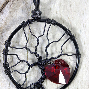 Swarovski Crystal Heart Tree of Life Pendant Black Wire Wrapped Love Valentine's Day Forever Yours Gothic Romance Romantic Gift for Her