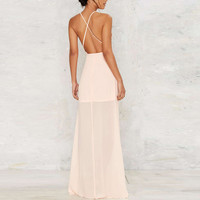Women Backless Elegant Chiffon Sexy Off Shoulder Maxi Long Party Dress